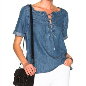 RAG & BONE | sz XS lace up Chambray top